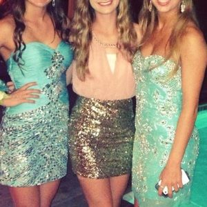 Xtaren Dresses - pink gold sequin semi/formal/homecoming/prom dress
